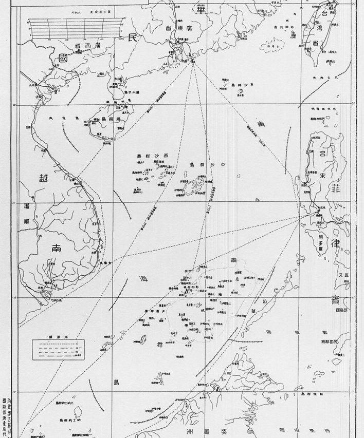 """Elle sert toujours de référence aujourd'hui : la carte de la mer de Chine du Sud dessinée par la Chine en 1947 avec la """"ligne en onze traits"""" montre les revendications chinoises sur la quasi-totalité de la zone."""