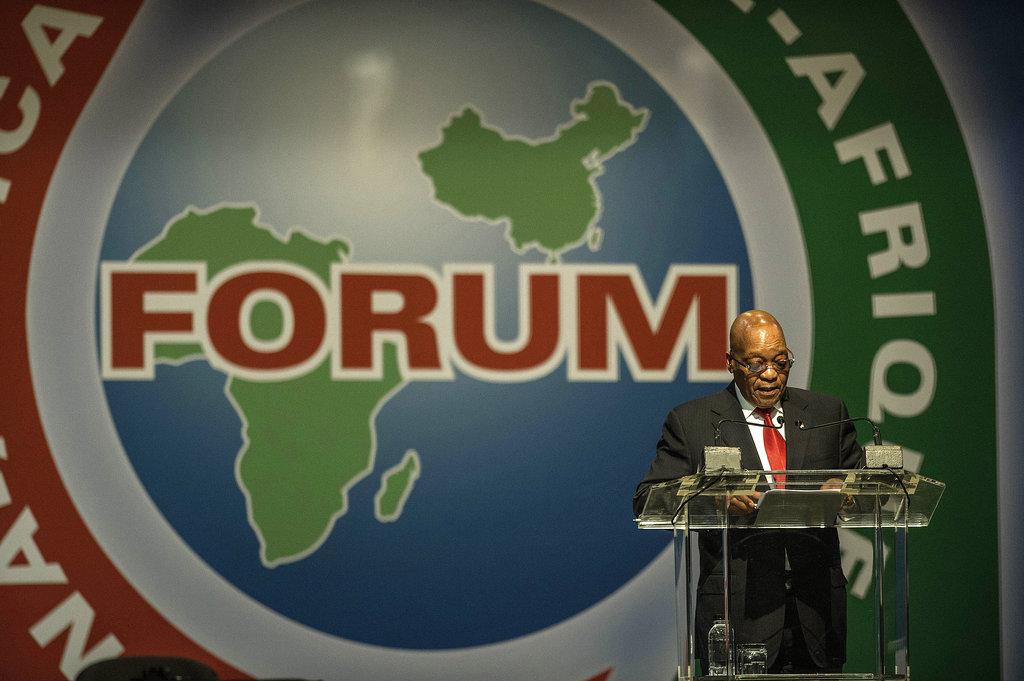 Le président sud-africain Jacob Zuma lors de l'ouverture du Forum de coopération Chine-Afrique à Johannesburg le 4 décembre 2015.