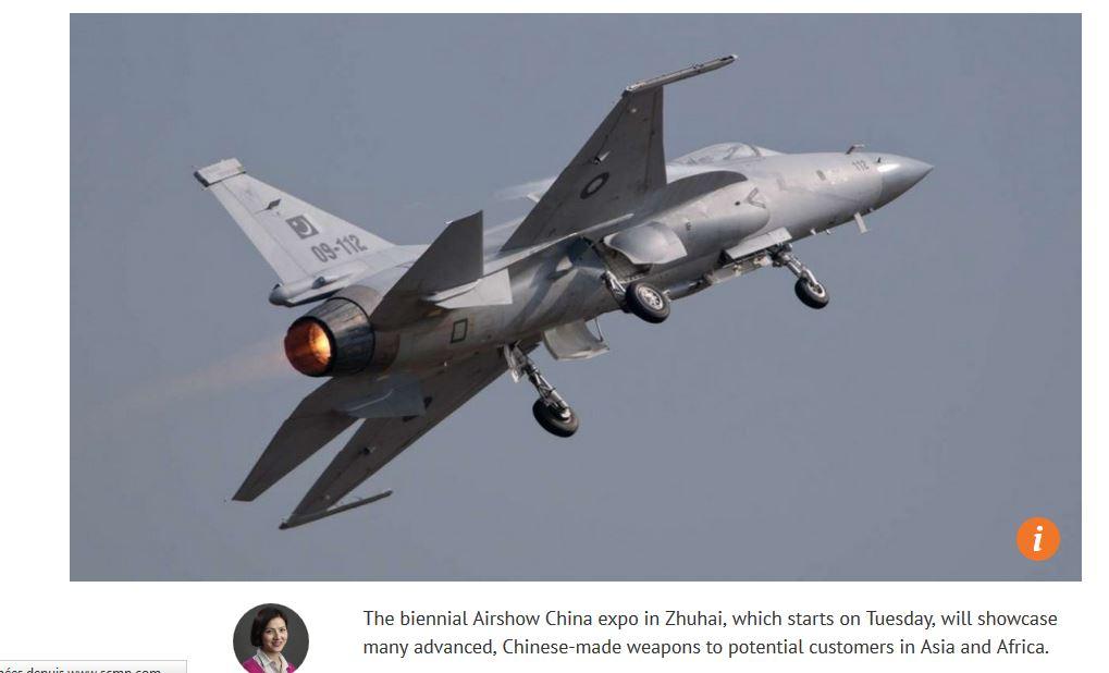Malgré l'ouverture du Salon aéronautique de Zhuhai, la Chine ne devrait pas voir évoluer sa place dans le classement mondial des pays exportateurs d'armes. Copie d'écran du South China Morning Post, 31 octobre 2016.
