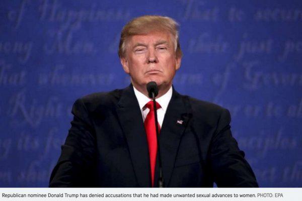 Pour les femmes politiques asiatiques, les accusations portées envers Donald Trump qui auraient harcelé sexuellement de jeunes femmes le rendrait inéligible dans leur pays, Copie d'écran du Straits Times, le 20 octobre 2016.