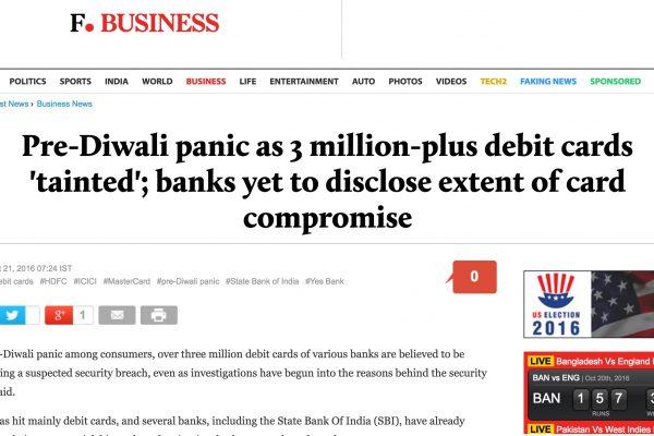 Des milliers de personnes se retrouvent sans moyen de paiement à quelques jours de la fête de Diwali le 30 octobre. Copie d'écran de Firstpost, le 21 octobre 2016.