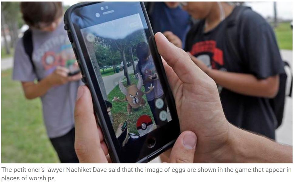 Les oeufs de Pokémon distribués dans les PokéStops situés sur des lieux de culte hindouistes passent mal au Gujarat... Copie d'écran de The Indian Express, le 7 septembre 2016.