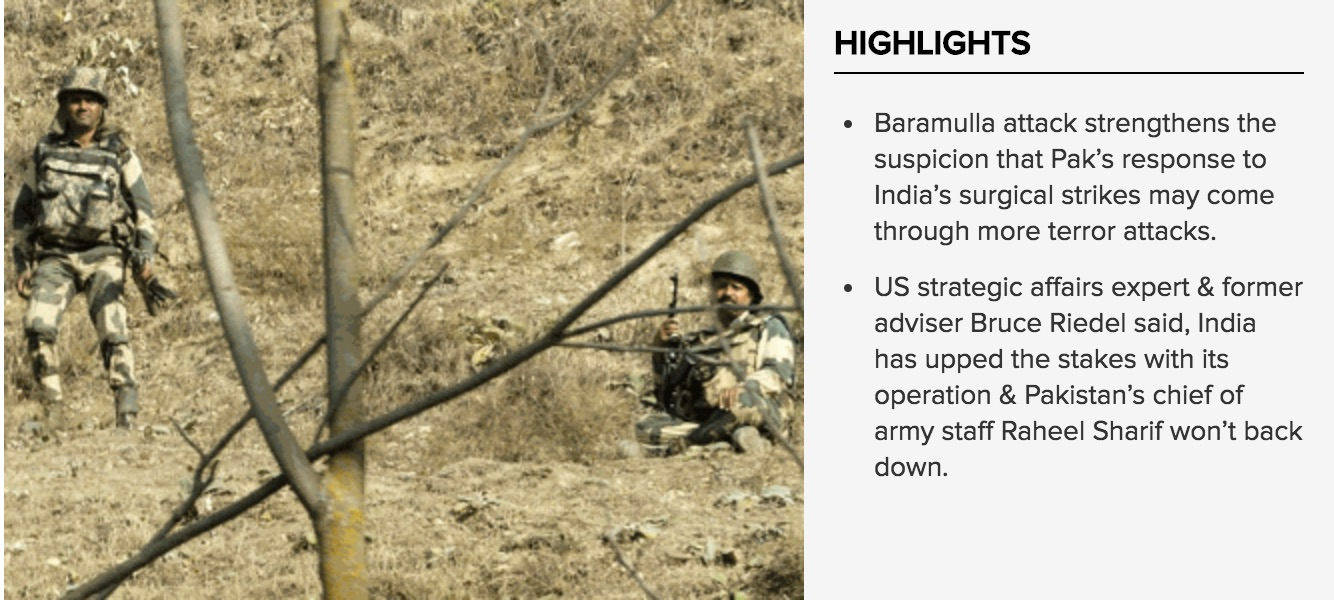 L'attaque de la base militaire de Baramulla a provoqué la mort d'un soldat indien le 3 octobre. Copie d'écran de the India Times, le 4 octobre 2016.