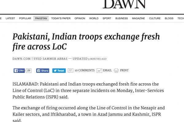 Alors que Narendra Modi a annoncé avoir franchi la ligne de contrôle le 30 septembre, les échanges de tirs s'intensifient le long de cette frontière de facto entre l'Inde et le Pakistan. Copie d'écran de Dawn, le lundi 3 octobre 2016.
