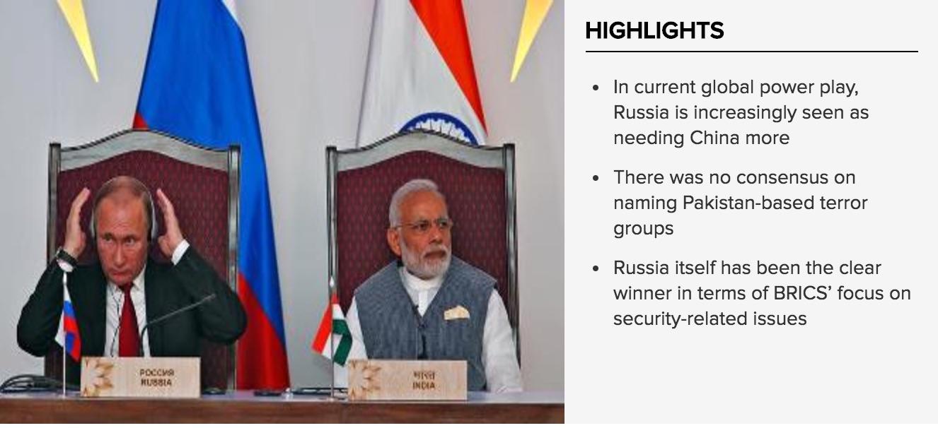 La Russie semble s'être alliée à la Chine lors du sommet des Brics, le 14 octobre dernier. Copie d'écran du Times of India, le 18 octobre 2016.