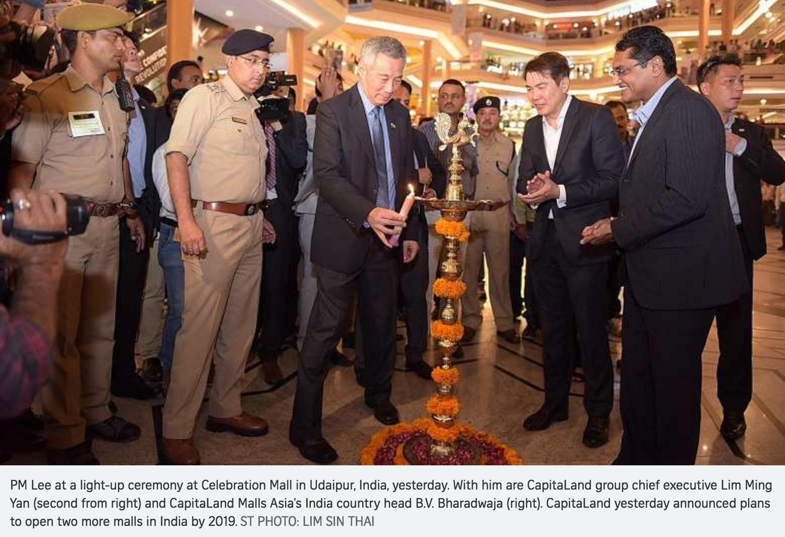 Singapour s'installer en Inde avec de gigantesques centres commerciaux. Copie d'écran du Straits Times, le 6 octobre 2016.