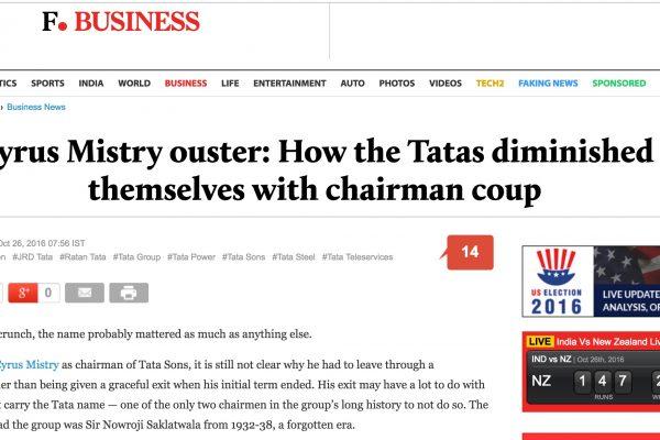 Le PDG de Tata, plus gros conglomérat indien, Cyrus Misty a été licencié provoquant la surprise et redonnant les règles à un ancien dirigeant, Ratan Tata. Copie d'écran du First Post, le 26 octobre 2016.