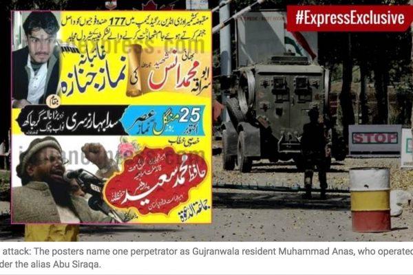 Les autorités indiennes avaient initialement accusé le groupe Jaish-e-Mohammed. Copie d'écran de The Indian Express, le 25 octobre 2016.