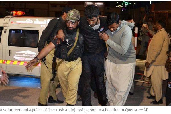 Pour la deuxième fois de l'année, Quetta est la cible d'une vaste opération terroriste. Copie d'écran de Dawn, le 25 octobre 2016.