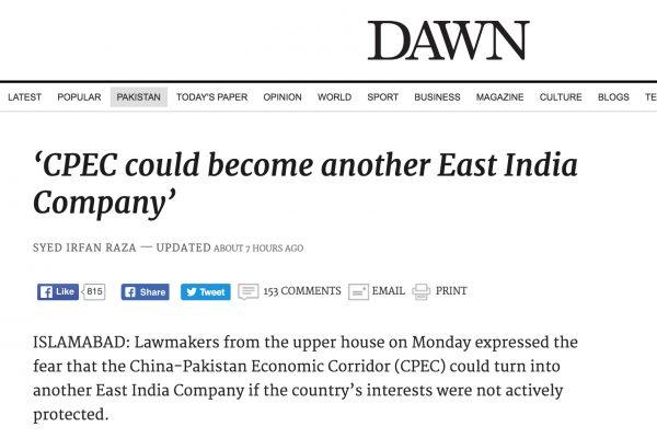 Certains craignent que le corridor économique sino-pakistanais aient des impacts négatifs sur la vie des Pakistanais. Copie d'écran de Dawn, le 18 octobre 2016.