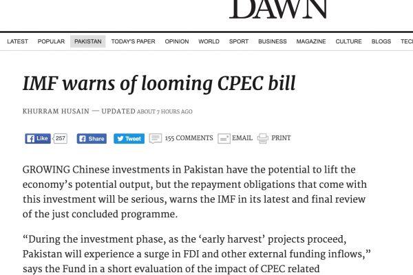 Si les investissement chinois seraient d'abord profitables à Islamabad, ce dernier devra ensuite rembourser de nombreux prêts. Copie d'écran de Dawn, le 17 octobre 2016.