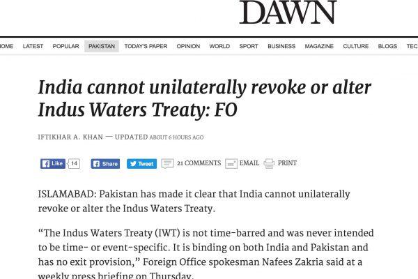Le traité de l'Indus ne prévoit pas la sortie de l'un ou l'autre des pays. Copie d'écran de Dawn, le 7 octobre 2016