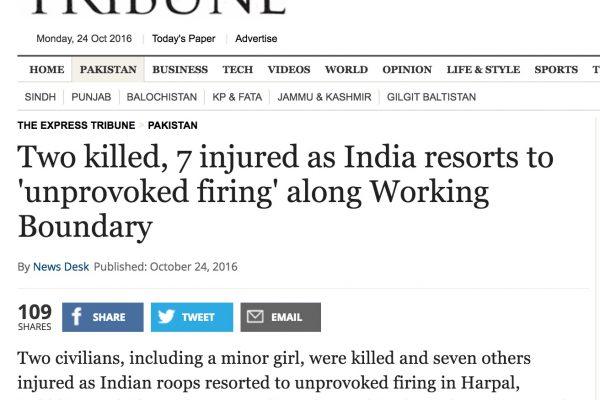 Deux civils ont été tués et cinq blessés dans une nouvelle attaque le long de la frontière du Cachemire. Copie d'écran de Tribune, le 24 octobre 2016