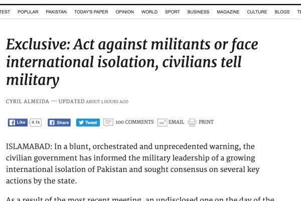 C'est inédit dans un pays souvent critiqué pour son manque d'action en matière de lutte contre le terrorisme. Copie d'écran du Dawn, le 6 octobre 2016.