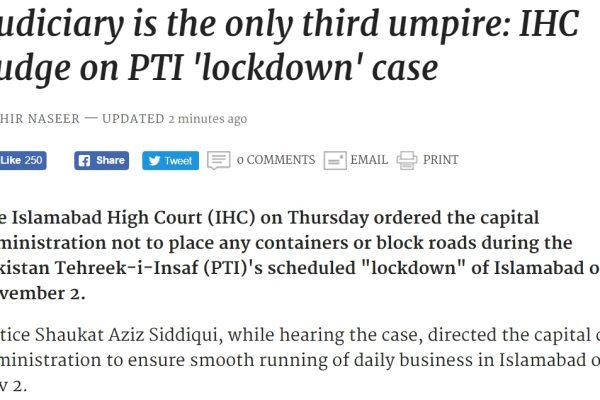 Imran Khan, chef de file de l'opposition pakistanaise, arrivera-t-il à organiser son sit-in comme il le souhaite ? Copie d'écran de Dawn, le 27 octobre 2016.