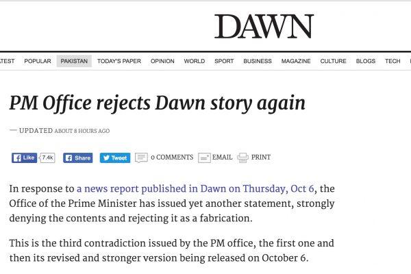 Le journal pakistanais est accusé d'avoir publié un article mensonger dans lequel le Premier ministre Nawaz Sharif aurait exprimé vouloir lutter contre le terrorisme. Copie d'écran de Dawn, le 11 octobre 2016.