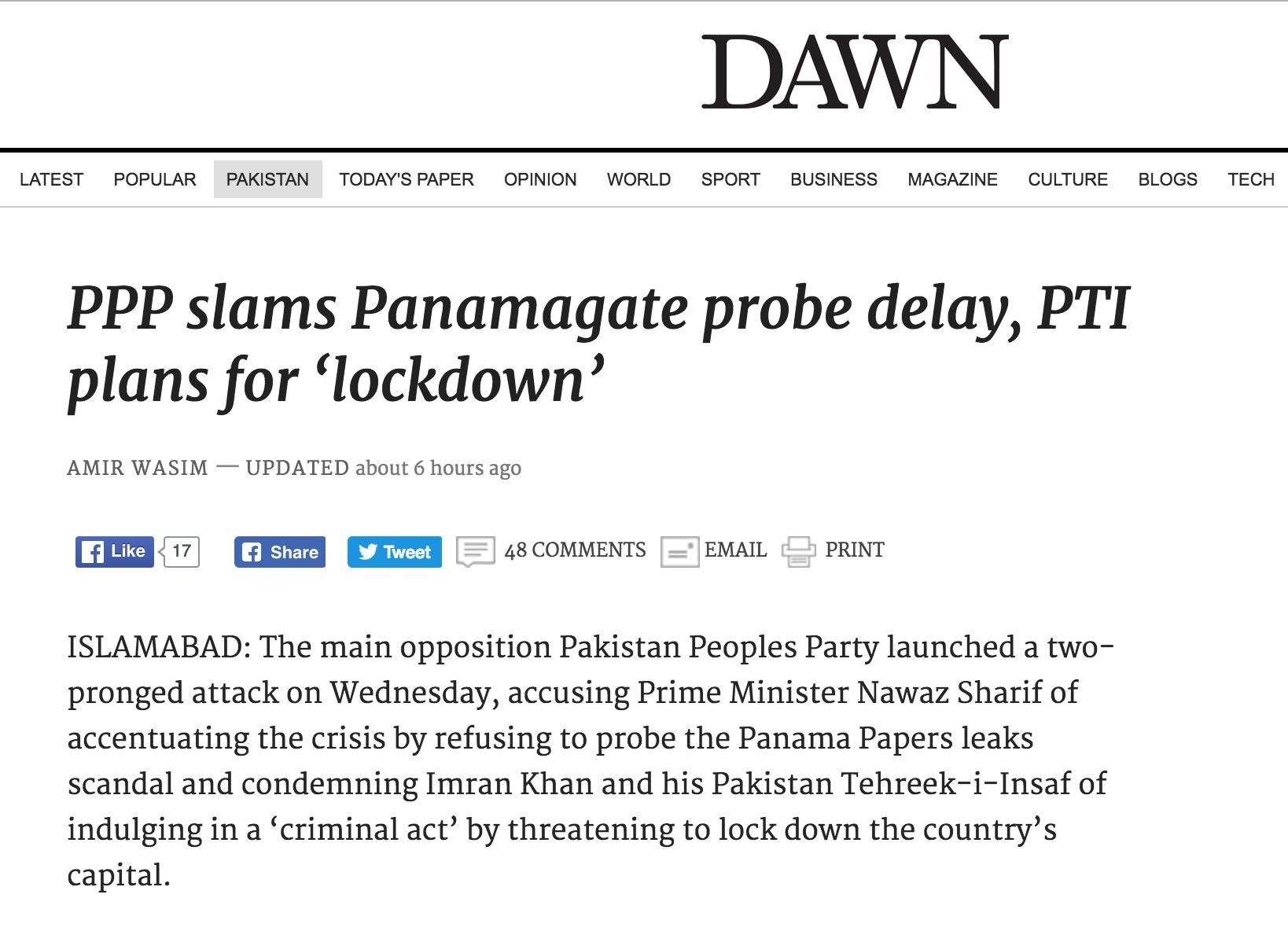 L'opposition à Nawaz Sharif se divise alors que le Premier ministre est convoqué à la Cour suprême. Copie d'écran du Dawn, le 20 octobre 2016.