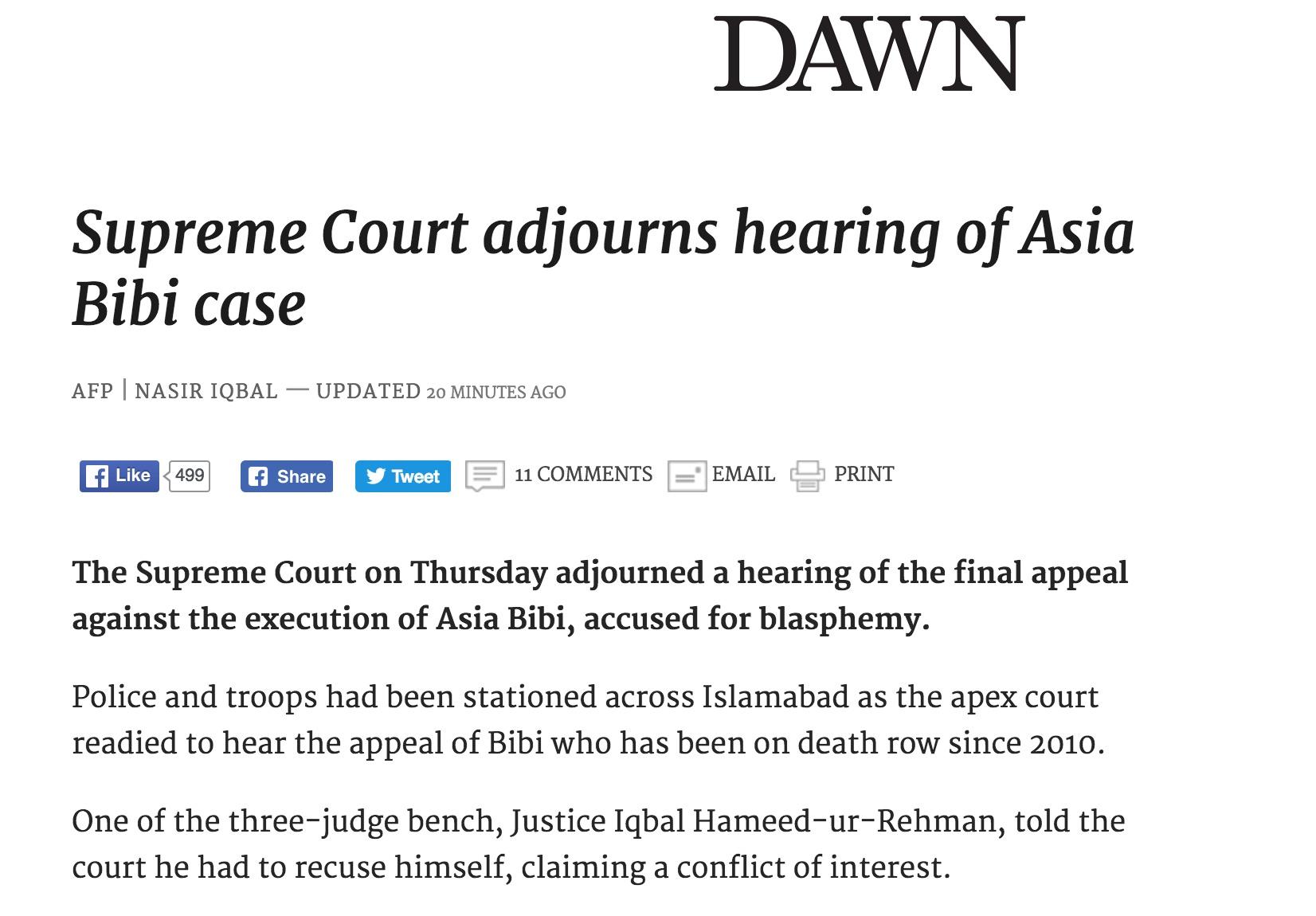 L'un des juges en charge de l'affaire s'est désisté, plaidant un conflit d'intérêt. Copie d'écran de Dawn, le 13 octobre 2016.