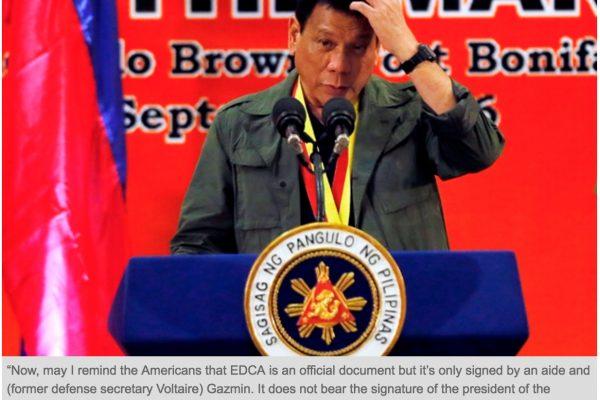 Duterte veut interdire aux soldats américains l'accès à ses bases militaires. Copie d'écran du Philstar, le lundi 3 octobre 2016.