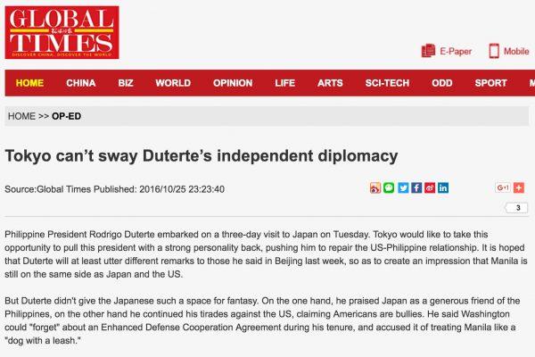 """En annonçant sa séparation avec Washington, Duterte met en place une """"diplomatie de l'indépendance"""". Copie d'écran du Global Times, le 26 octobre 2016."""