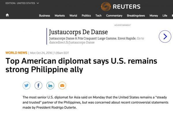 Dès samedi, Duterte nuançait ses propos précisant qu'il s'agissait avant tout de dépendre de moins en moins de Washington. Copie d'écran de Reuters, le 24 octobre 2016