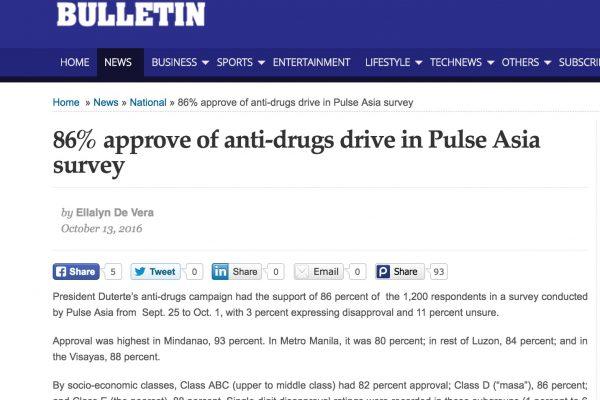 Parmi les Philippins les plus favorables à la lutte anti-drogue, les habitants de l'île de Mindanao. Copie d'écran du Manilla Bulletin, le 13 octobre 2016.