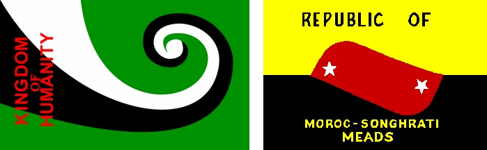 Drapeaux du Royaume de l'Humanité (à gauche) et de la République de Morac-Songhrati-Meads (à droite). Crédit : domaine public, via Wikimedia commons.