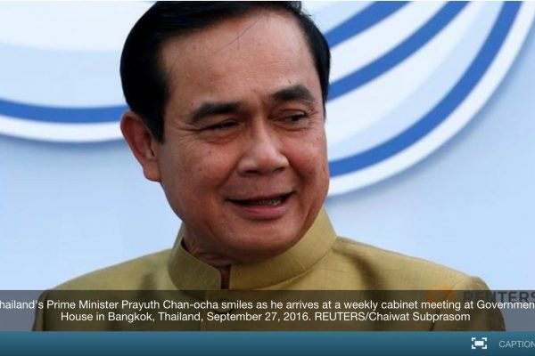 La junte au pouvoir nie pourtant une quelconque implication dans ce projet de nouveau parti. Copie d'écran de Channel News Asia, le 4 octobre 2016.
