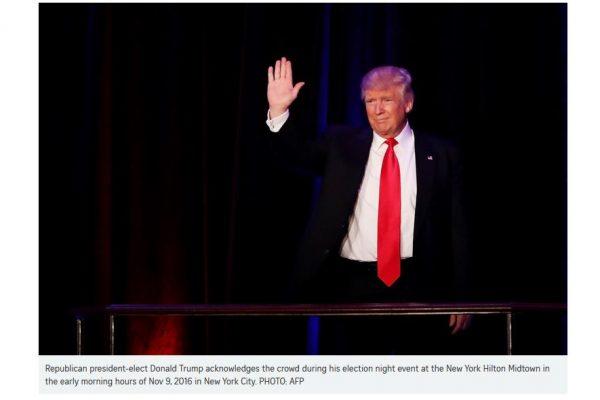 """Avec l'élection de Trump, c'est la vision américaine du libre-échange qui est remise en cause. Copie d'écran du """"Straits Times"""", le 9 novembre 2016."""