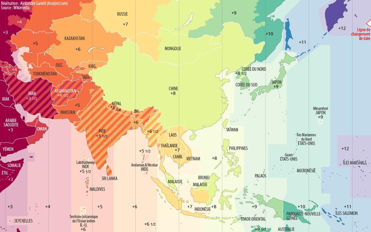 Carte des fuseaux horaires en Asie.