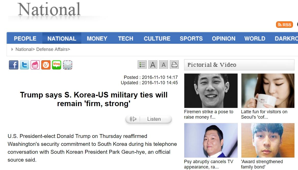 Contrairement à ses promesses de campagne, Trump a réaffirmé son engagement vis-à-vis de la Corée du Sud. Copie d'écran du Korea Times, le 10 novembre 2016.
