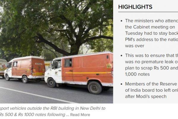 Les Indiens affluent aux distributeurs et bureaux de change pour retirer des billets valables et échanger les coupures devenues obsolètes du jour au lendemain. Copie d'écran du Times of India, le 10 novembre 2016.