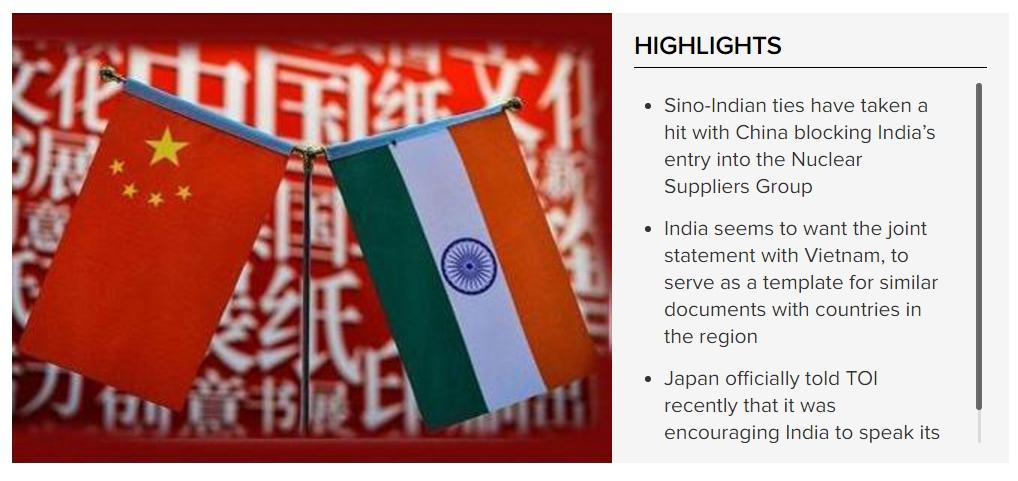 New Delhi est bien décidée à peser dans la balance en mer de Chine méridionale. Copie d'écran du Times of India , le 7 novembre 2016.