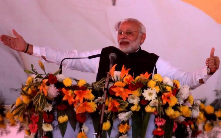 Le Premier ministre indien Narendra Modi lors d'une conférence de presse à Bathinda, dans l'Etat du Penjab, le 25 novembre 2016. (Credit : Gurmeet Singh). Copie d'écran du site The Indian Express, le 25 novembre 2016.