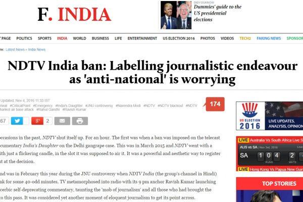 """Pour la première fois, un média indien sera suspendu pour avoir divulgué des informations """"sensibles"""" lors de la couverture d'attentats terroristes. Copie d'écran du Firstpost, le 4 novembre 2015."""