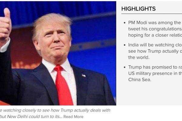 Pour l'Inde, la victoire de Donald Trump n'est pas forcément une mauvaise nouvelle. Copie d'écran du Times of India, le 10 novembre 2016.