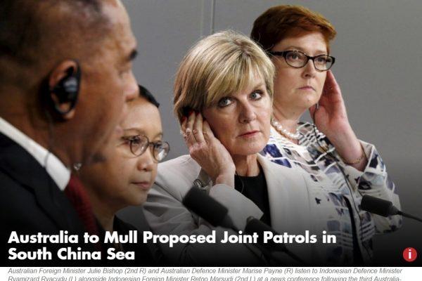 L'Australie patrouillera-t-elle bientôt aux côtés de l'Indonésie dans les eaux disputées de mer de Chine du Sud ? Copie d'écran du Jakarta Globe, le 2 novembre 2016.