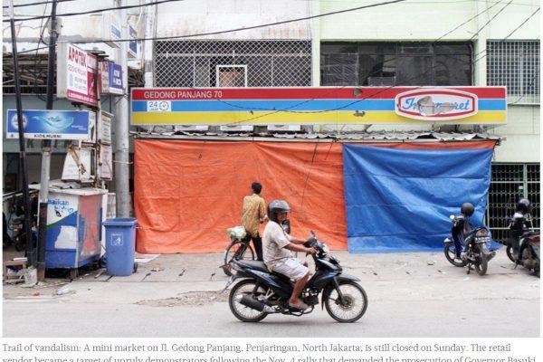 Les Chinois ethniques d'Indonésie ont été la cible de violences au nord de Jakarta en fin de semaine dernière. Copie d'écran du Jakarta Post, le 7 novembre 2016.