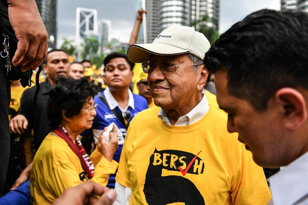 L'ancien Premier ministre malaisien Mahathir Mohammed lors de la 5ème marche de Bersih pour la démission de l'actuel chef du gouvernement Najib Razak, à Kuala Lumpur le 19 novembre 2016.