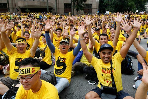 Environ 40 000 manifestants ont participé à la 5ème marche du mouvement Bersih, appelant à la démission du Premier ministre malaisien Najib Razak, à Kuala Lumpur le 19 novembre 2016.