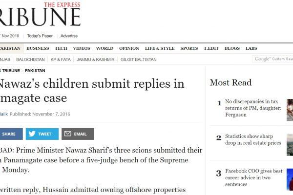 Le clan Sharif va-t-il sortir blanchi du procès qui l'attend autour des Panama Papers ? Copie d'écran de The Express Tribune, le 7 novembre 2016.