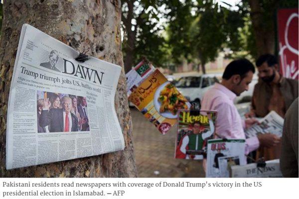 La rhétorique antimusulmane de Trump, désormais président élu des Etats-Unis, ne rassure pas les Pakistanais. Copie d'écran de Dawn, le 10 novembre 2016.