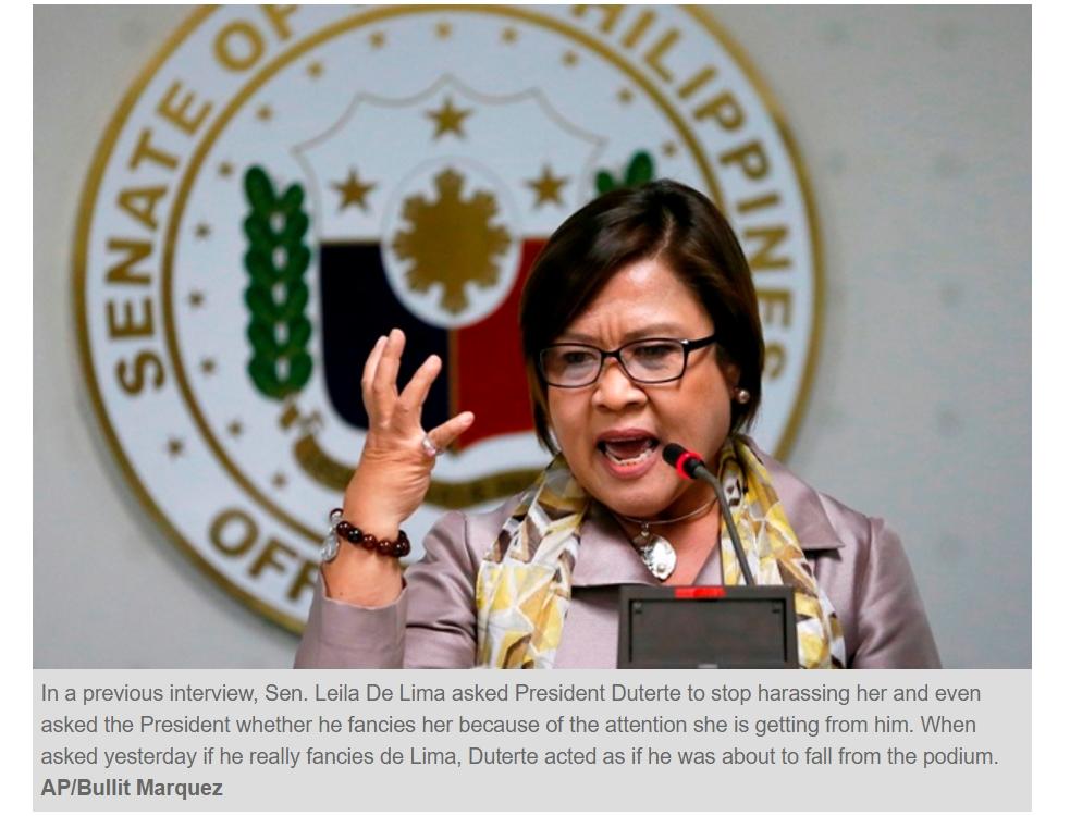 La sénatrice Leila De Lima est dans le collimateur du président Rodrigo Duterte, mais ne se laisse pas intimider. Copie d'écran du Philippine Star, le 7 novembre 2016.