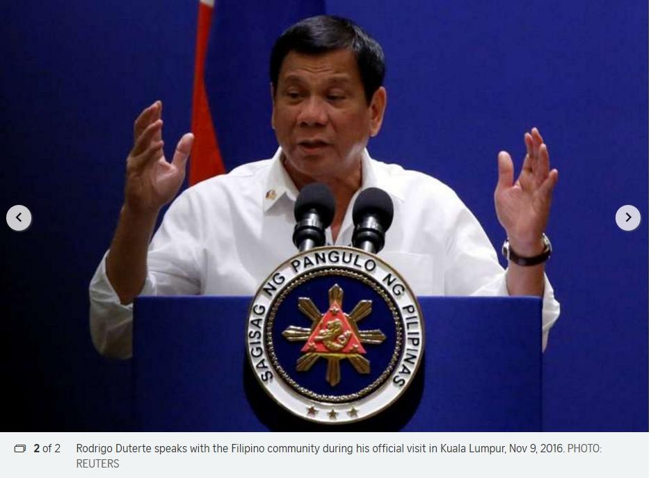 La victoire de Donald Trump semble avoir apaisé Rodrigo Duterte vis-à-vis des Etats-Unis. Copie d'écran du Straits Times, le 10 novembre 2016.
