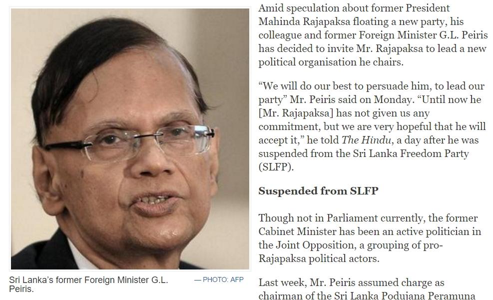 Le retour de Rajapaksa sur la scène politique srilankaise n'est qu'une question de temps. Copie d'écran de The Hindu, le 8 novembre 2016.