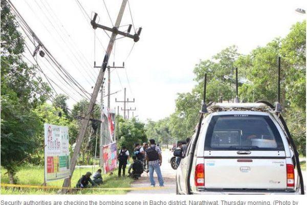 Une douzaine d'attaques en série ont secoué les trois provinces du sud de la Thaïlande, à Pattani, Songkhla et Narathiwat, dans la soirée du 2 novembre. Copie d'écran du Bangkok Post, le 3 novembre.