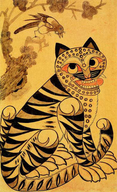 """""""Le Tigre et la Pie"""", XIXe siècle, Couleurs sur papier. Don : Lee Ufan, 2001."""