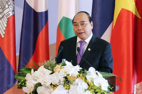 Le Premier ministre vietnamien Nguyen Xuan Phuc lors du 8ème Sommet Cambodge-Laos-Myanmar-Vietnam (CLMV-8) à Hanoï, le 26 octobre 2016.