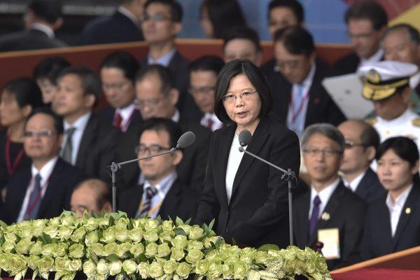 La présidente taïwanaise Tsai Ing-wen lors de son discours à l'occasion de la fête nationale, devant le palais présidentiel à Taipei, le 10 octobre 2016.