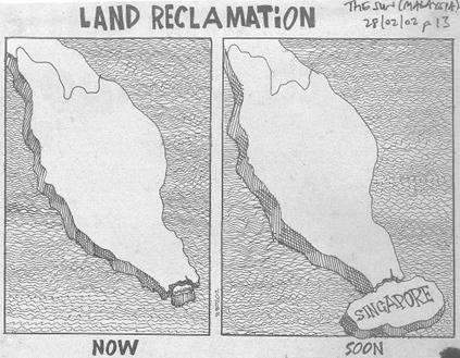 Revendications territoriales de Singapour croquées par la presse malaisienne. (Crédit : The Sun Malaysia)